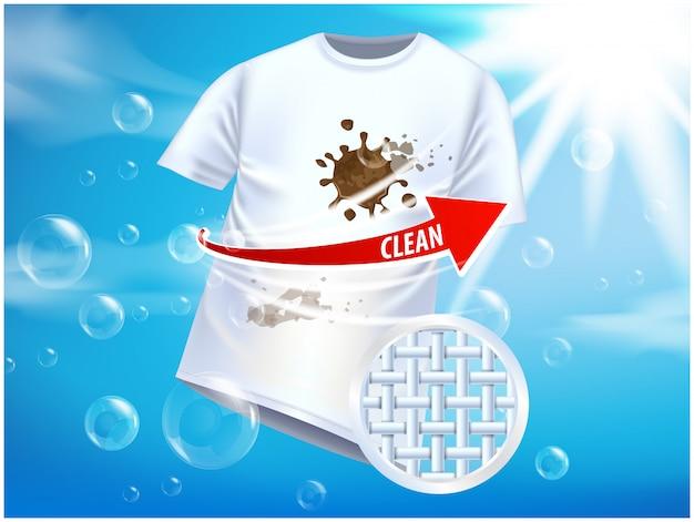 Modelo de anúncio ou revista. design de cartaz de anúncios em fundo azul com camiseta branca e manchas Vetor Premium