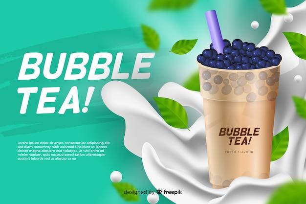 Modelo de anúncio para chá de bolhas Vetor grátis