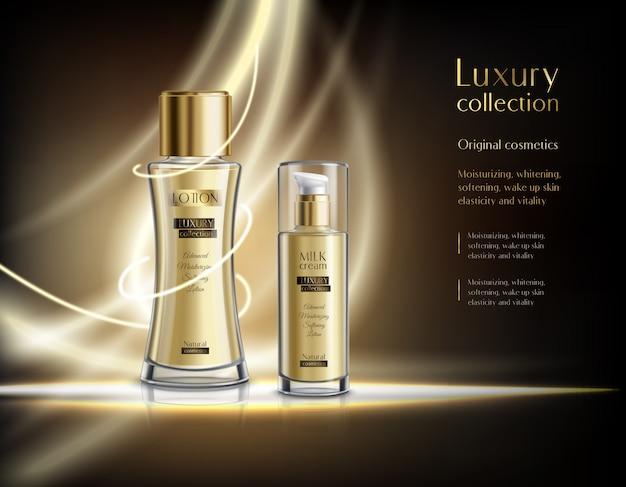 Modelo de anúncio realista de cosméticos de luxo Vetor grátis