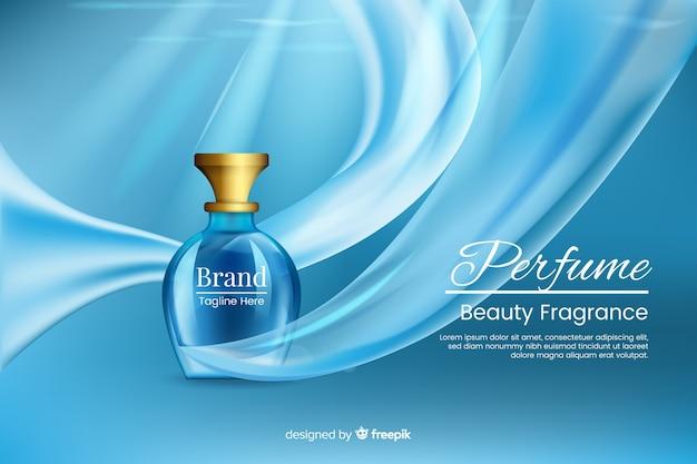 Modelo de anúncio realista para perfume Vetor Premium