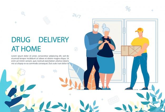 Modelo de anúncio - serviço de entrega de medicamentos em casa Vetor Premium