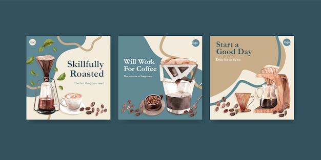 Modelo de anúncios com design de conceito de dia internacional do café para propaganda e marketing de aquarela Vetor grátis