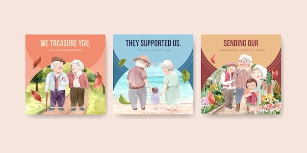 Modelo de anúncios com design de conceito de dia nacional dos avós para propaganda e marketing de aquarela. Vetor grátis