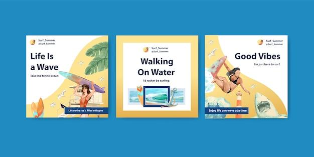 Modelo de anúncios com pranchas de surf na praia Vetor grátis