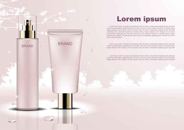 Modelo de anúncios cosméticos Vetor Premium