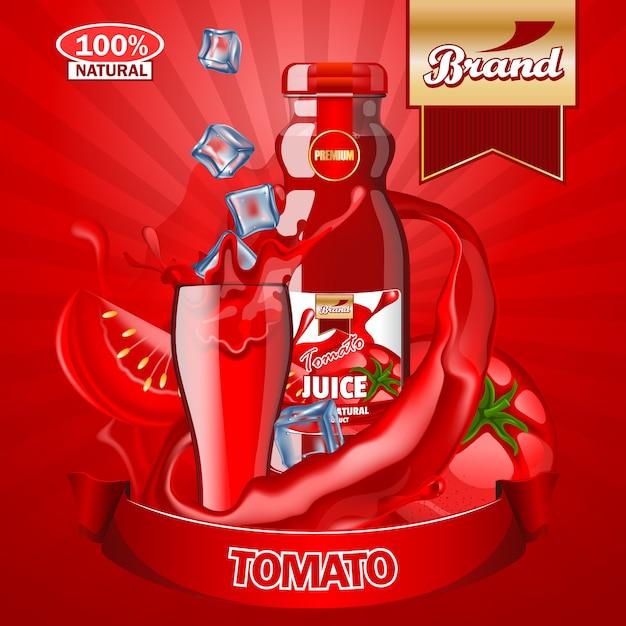 Modelo de anúncios de suco de tomate. Vetor Premium