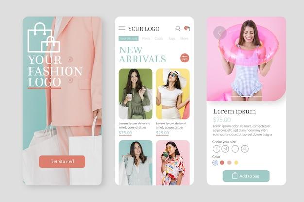 Modelo de aplicativo de compras de moda com fotos Vetor grátis