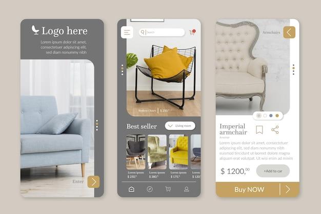 Modelo de aplicativo de compras de móveis com fotos Vetor Premium