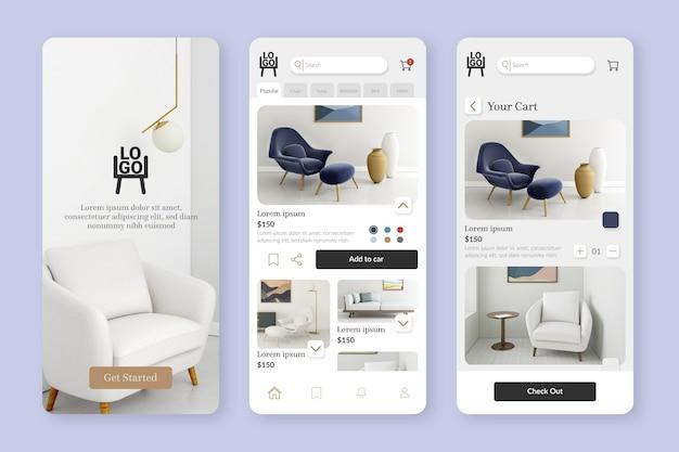 Modelo de aplicativo de compras de móveis Vetor Premium