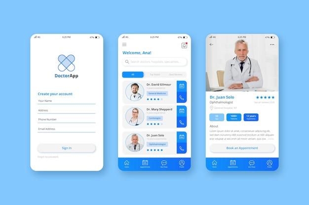 Modelo de aplicativo de reserva médica com foto Vetor grátis