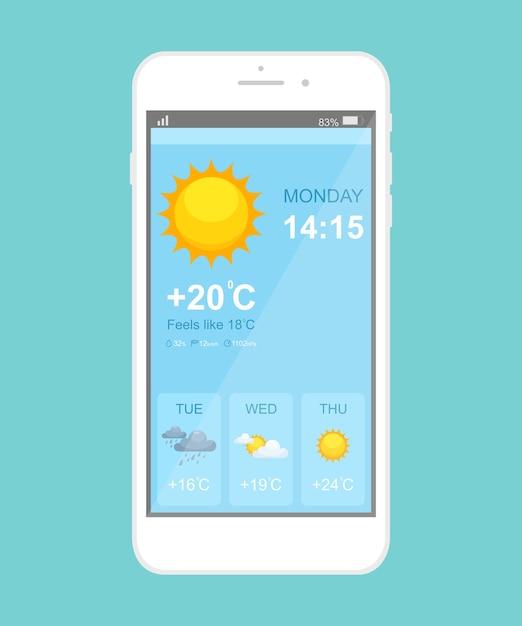 Modelo de aplicativo de smartphone de previsão do tempo. interface azul da página do aplicativo móvel. exibição do telefone em dia ensolarado, chuvoso, nublado com trovoada. Vetor Premium