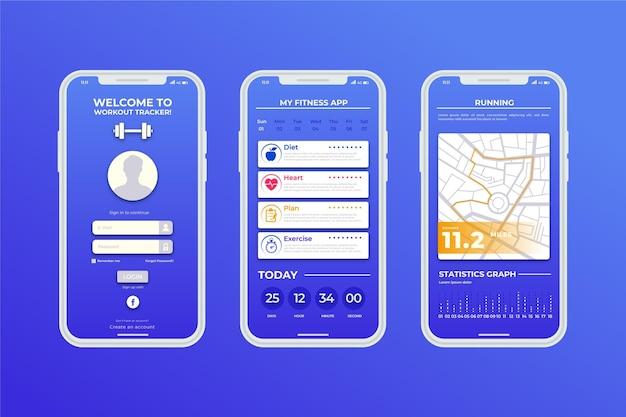 Modelo de aplicativo de smartphone de rastreador de esporte Vetor grátis