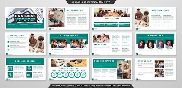 Modelo de apresentação de negócios com uso de estilo limpo e minimalista para perfil de negócios e relatório anual Vetor Premium