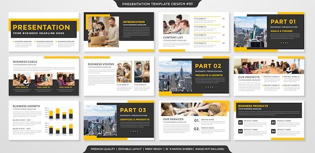 Modelo de apresentação de negócios layout limpo Vetor Premium