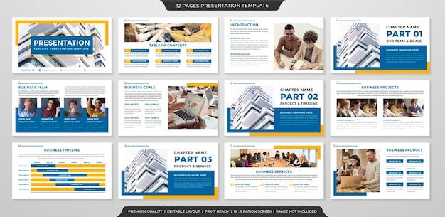 Modelo de apresentação de negócios limpo Vetor Premium