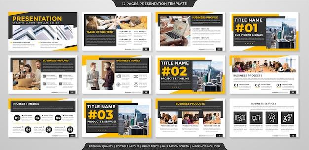 Modelo de apresentação de negócios multiuso com estilo clean e conceito moderno para infográfico de negócios e relatório anual Vetor Premium