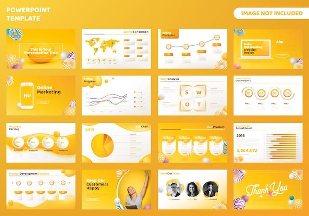 Modelo de apresentação de negócios powerpoint Vetor Premium