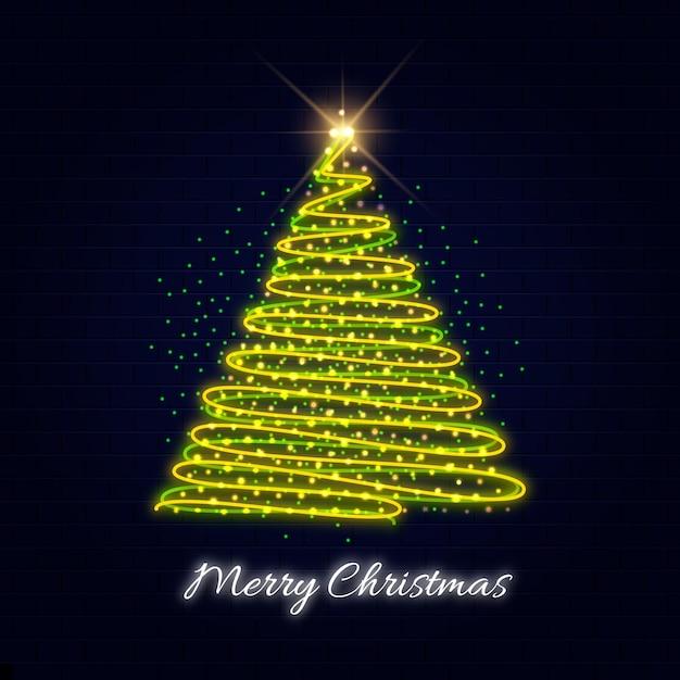 Modelo de árvore de natal neon Vetor Premium