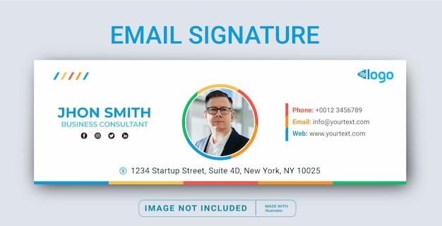 Modelo de assinatura de email ou rodapé de email e capa de mídia social pessoal Vetor Premium