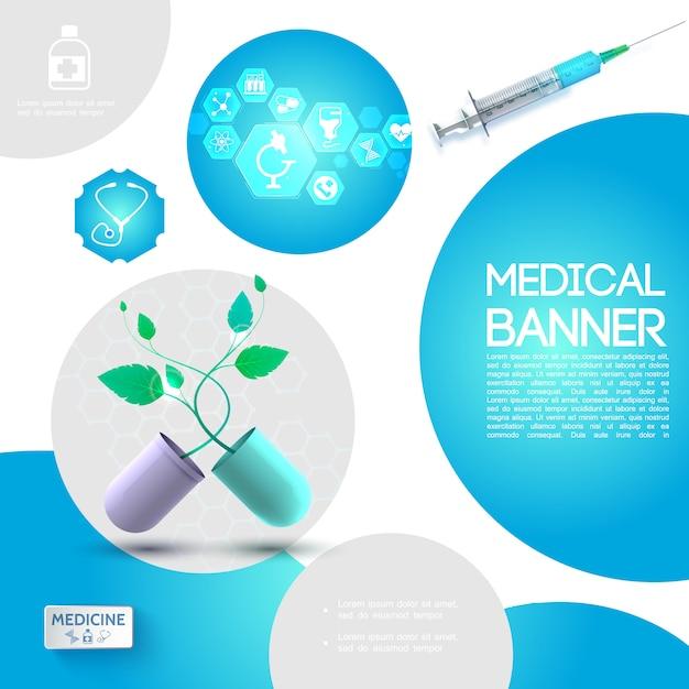 Modelo de assistência médica realista com cápsula quebrada seringa com ícones de plantas e medicamentos em hexágonos Vetor grátis