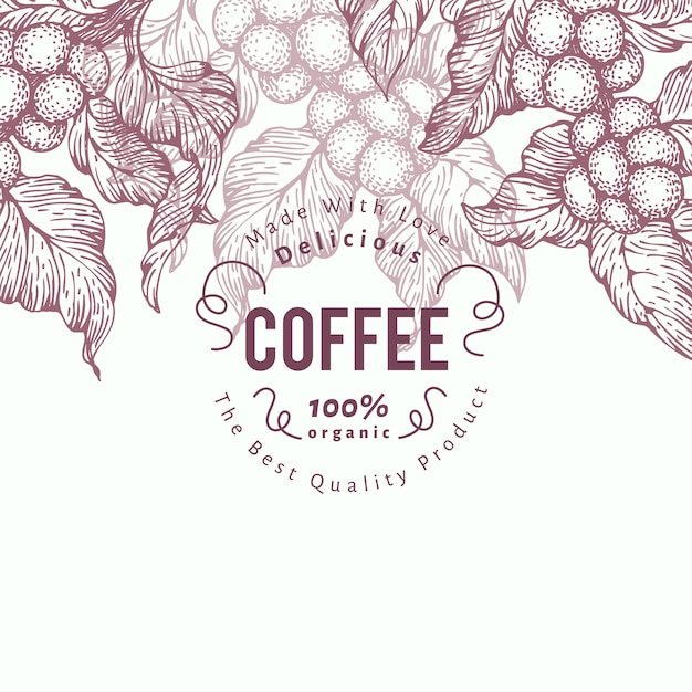 Modelo de bandeira de árvore de café. ilustração vetorial fundo de café retrô. Vetor Premium