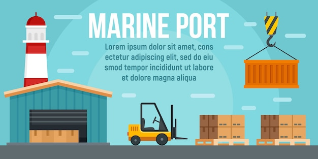 Modelo de bandeira de conceito de armazém portuário marinho, estilo simples Vetor Premium