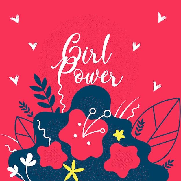 Modelo de bandeira plana floral do poder da menina. Vetor Premium