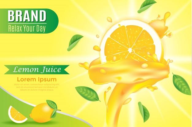 Modelo de banner amarelo líquido suculento rodado na ilustração realista de fatia de laranja Vetor Premium