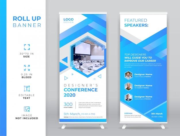 Modelo de banner arregaçar conferência Vetor Premium