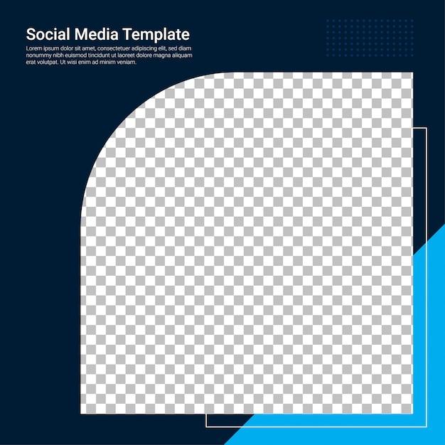Modelo de banner azul de mídia social Vetor Premium