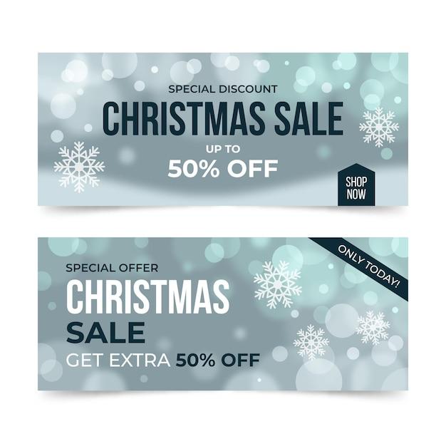 Modelo de banner borrado de venda de natal Vetor grátis