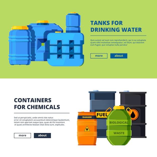 Modelo de banner com barris. diferentes tanques de água e óleo Vetor Premium