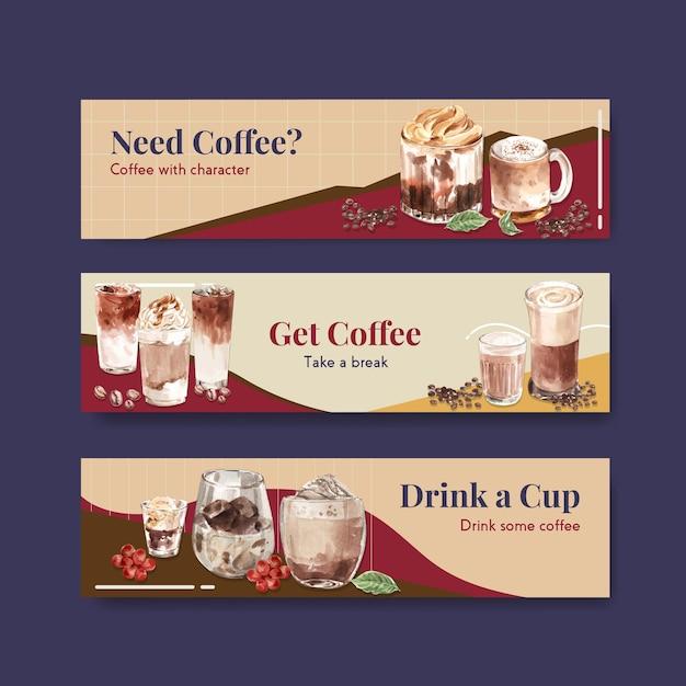 Modelo de banner com conceito de estilo de café coreano para propaganda e marketing de aquarela Vetor grátis