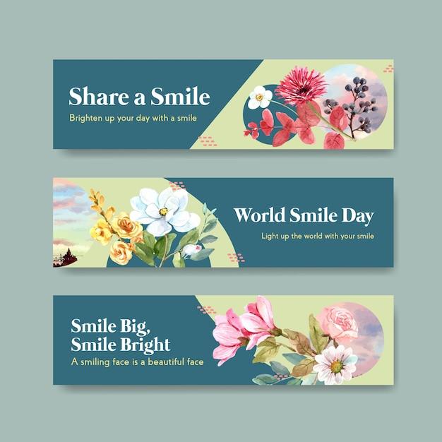 Modelo de banner com design de buquê de flores para o conceito de dia mundial do sorriso para anunciar e marketing de ilustração vetorial aquarela. Vetor grátis