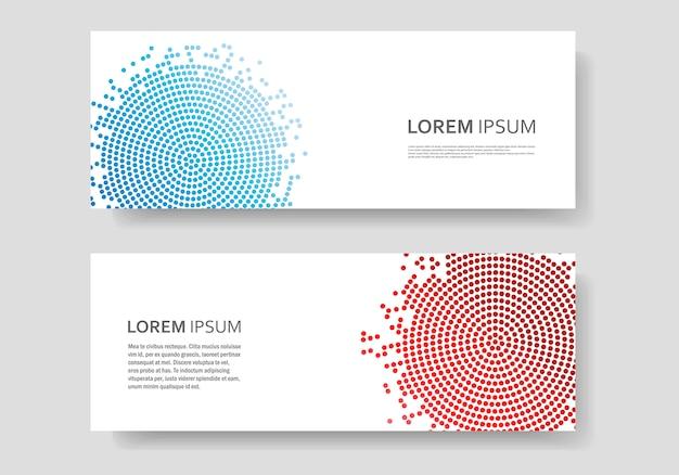 Modelo de banner com design de círculo de vetor abstrato de cor. textura de meio-tom Vetor Premium