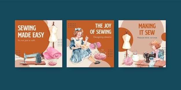 Modelo de banner com ilustração em aquarela de design de conceito de costura. Vetor grátis