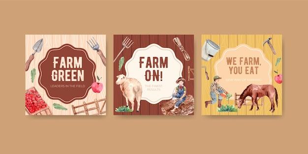 Modelo de banner com ilustração em aquarela do projeto do conceito de fazenda orgânica. Vetor grátis