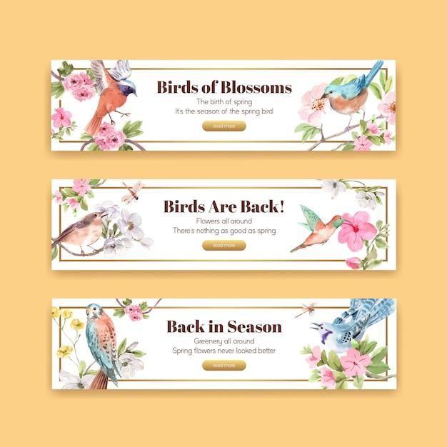 Modelo de banner com pássaros e conceito de primavera Vetor grátis