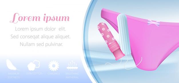 Modelo de banner com tampões com proteção invisível para mulheres ativas Vetor Premium