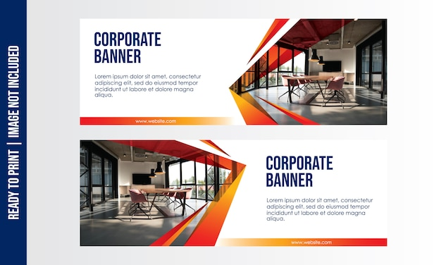 Modelo de banner corporativo Vetor Premium