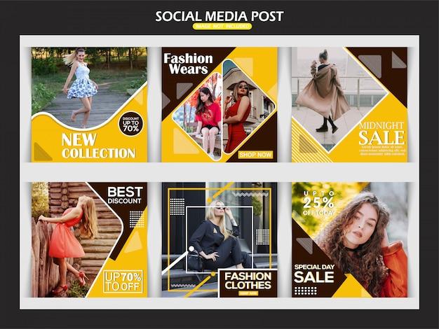 Modelo de banner criativo do instagram de moda Vetor Premium