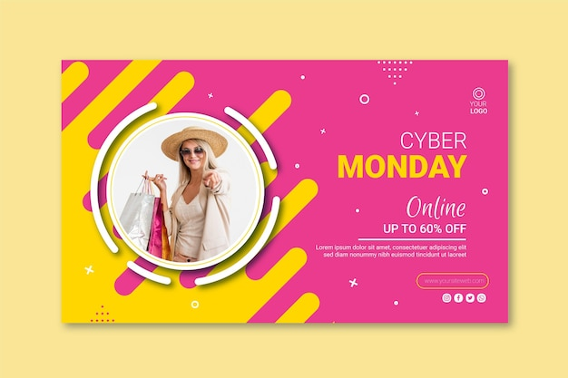 Modelo de banner da cyber monday Vetor Premium