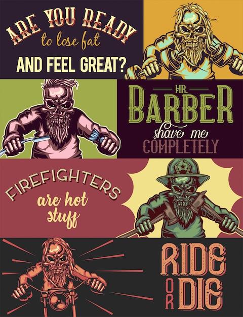 Modelo de banner da web com ilustrações de esqueletos de desportista, barbeiro, bombeiro e motociclista. Vetor grátis