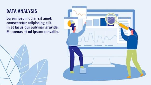 Modelo de banner da web de análise de dados com espaço de texto Vetor Premium