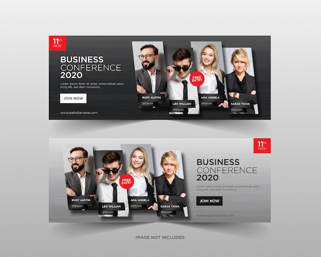 Modelo de banner da web de conferência de negócios Vetor Premium