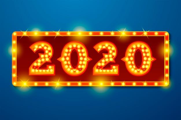 Modelo de banner de ano novo com números de lâmpada brilhante 2020 sobre fundo azul tabuleta Vetor Premium