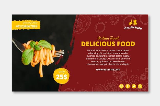 Modelo de banner de anúncio de comida italiana Vetor Premium