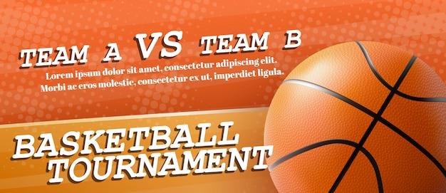 Modelo de banner de anúncio de torneio de basquete Vetor grátis