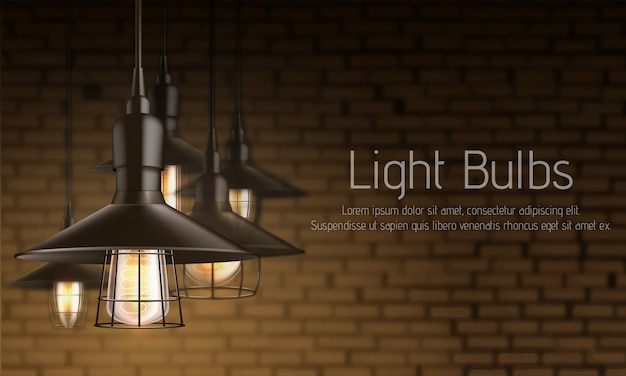 Modelo de banner de anúncio realista 3d de loja de equipamentos de luz Vetor grátis