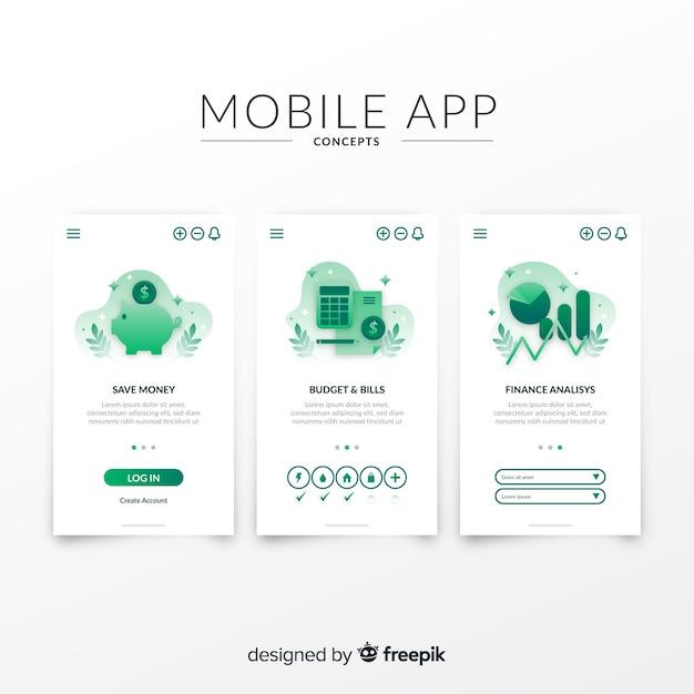 Modelo de banner de app móvel desenhada de mão Vetor grátis